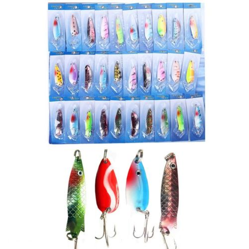 3 Pcs of (30pcs 1 Set of Fishing Lures Assorted Spoon Metal Hooks Baits Tackle Fishing UK) mymei 9 compartments plastic fishing lures spoon hooks baits hook tackle storage box