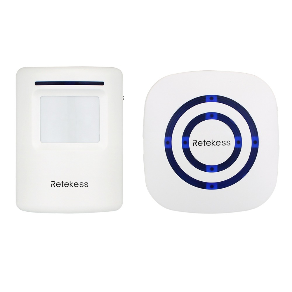 RETEKESS Wireless Chime Alarm Alert Doorbell with PIR Motion Sensor Infrared Detector Induction Gate Entry Door Bell Home F9506B wireless motion sensor detector gate entry door bell chime alert alarm system lcc77