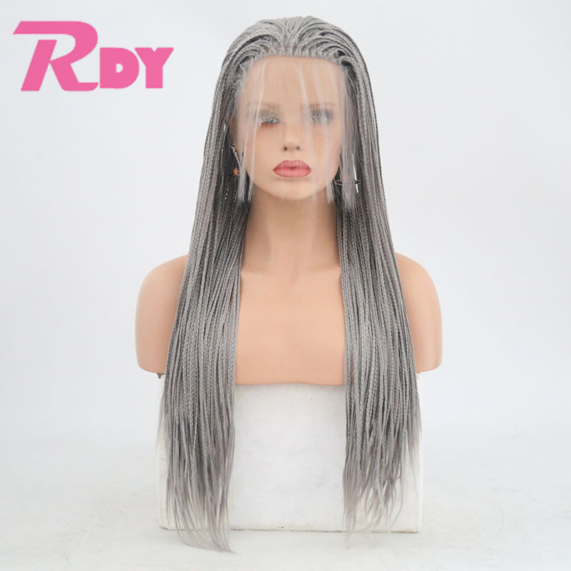 Rongduoyi Long Gray Box Braid Wigs Heat Resisant Synthetic Braided Lace Front Wig For Women With