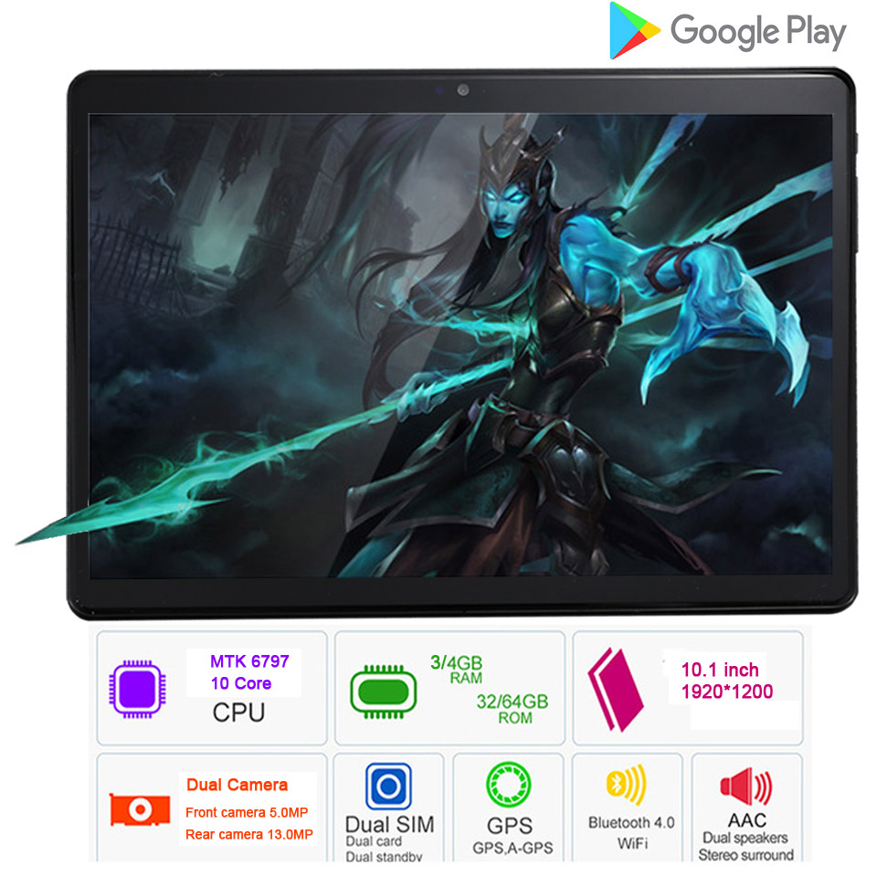 Real Deca core 10 inch tablet 10.1 Design 4G Phone Call Android 7.0 10 Cores kids tablet 4G+64G Tablet pc 7 8 9 10