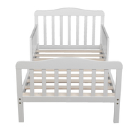 Classic Design Wooden Baby Toddler Bed Children Bedroom Furniture with Safety Guardrails Furniture for Kids White US Stock