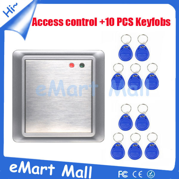 Free Shipping 10 pcs Keyfobs with metal waterproof keypad rfid reader 125khz card access control free shipping waterproof metal shell 125khz rfid access control card reader with wg26 port 5pcs crystal keyfobs