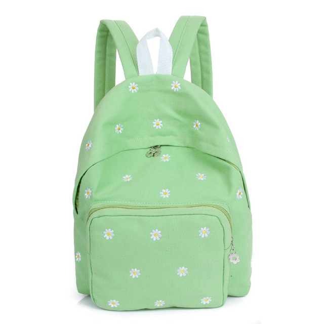 Candy color is small and fresh Flower Embroidery Canvas Shoulder Bag Schoolbag Women's backpack backpack Canvas backpack