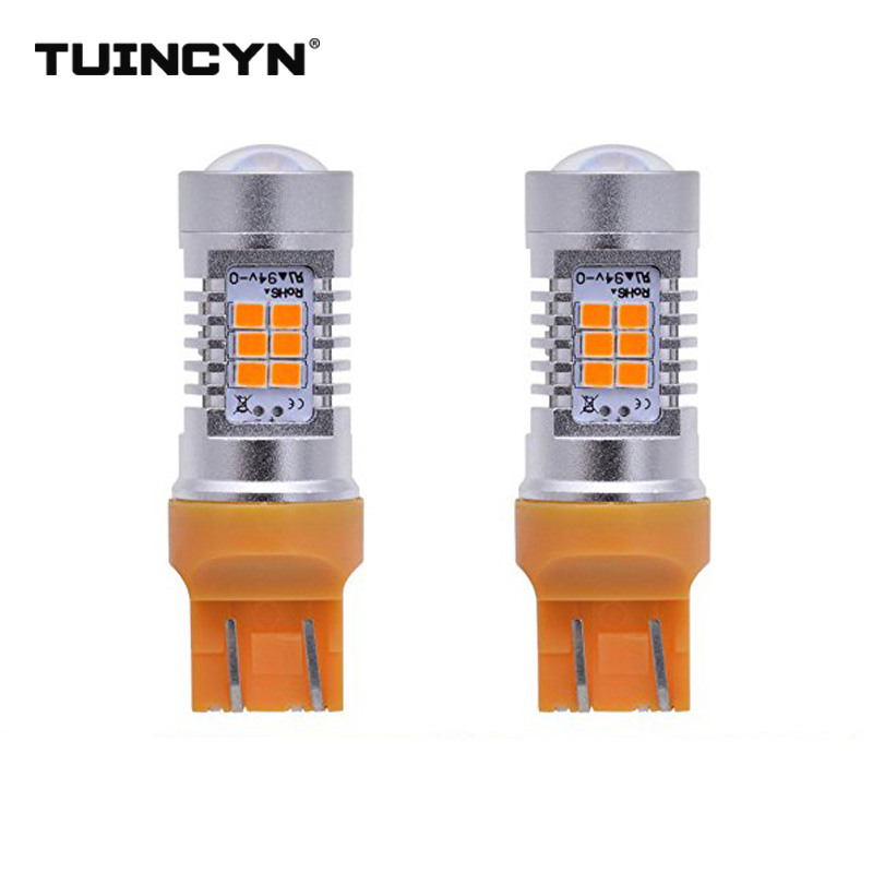 TUINCYN 2pcs LED Signal Light T20 7443 2835 21SMD 80W High Power 12V Lens Turn Signal Back Up Reverse Tail Brake LED Light
