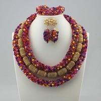 African Women's Big beads Necklace Earrings Set Nigerian Bride's Big Beads Fashion Necklace Jewelry Set Nigerian Wedding Jewelry