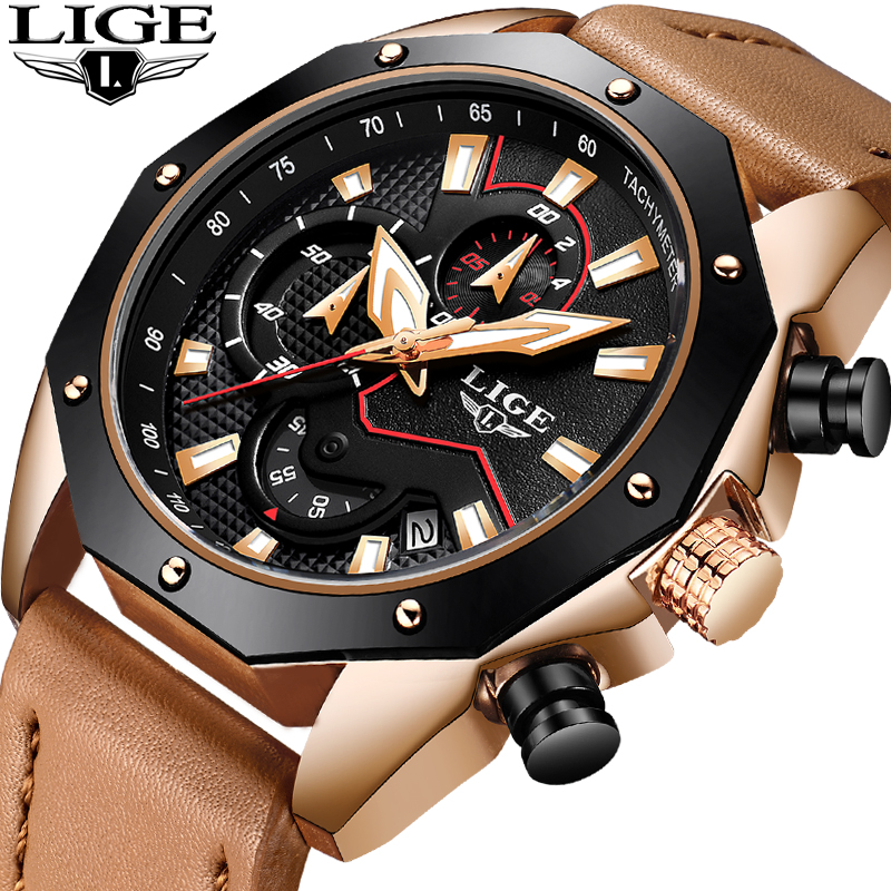 Men Watches LIGE Top Brand Luxury Business Leather Quartz Watch Men Casual Waterproof Sport Watch Male Clock Relogio Masculino nakzen brand luxury men watches stainless steel clock sport quartz edifice watch male casual business watch relogio masculino