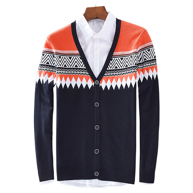 Autumn winter style national wind pattern male V collar jacquard knitted cardigan sweater 8518