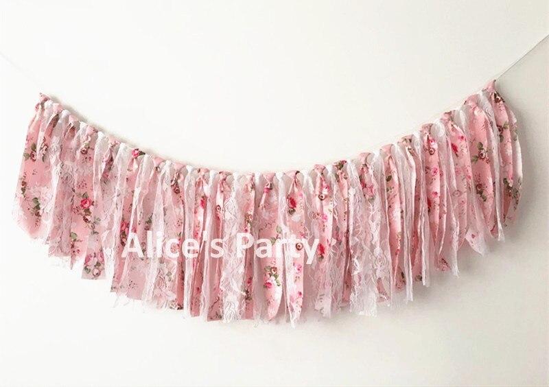 Gewetensvol Romantische Rag Kant Stof Bunting Wedding Party Decoraties Roze Boho Bloemen Bloem Banner Bridal Baby Shower Opknoping Foto Props