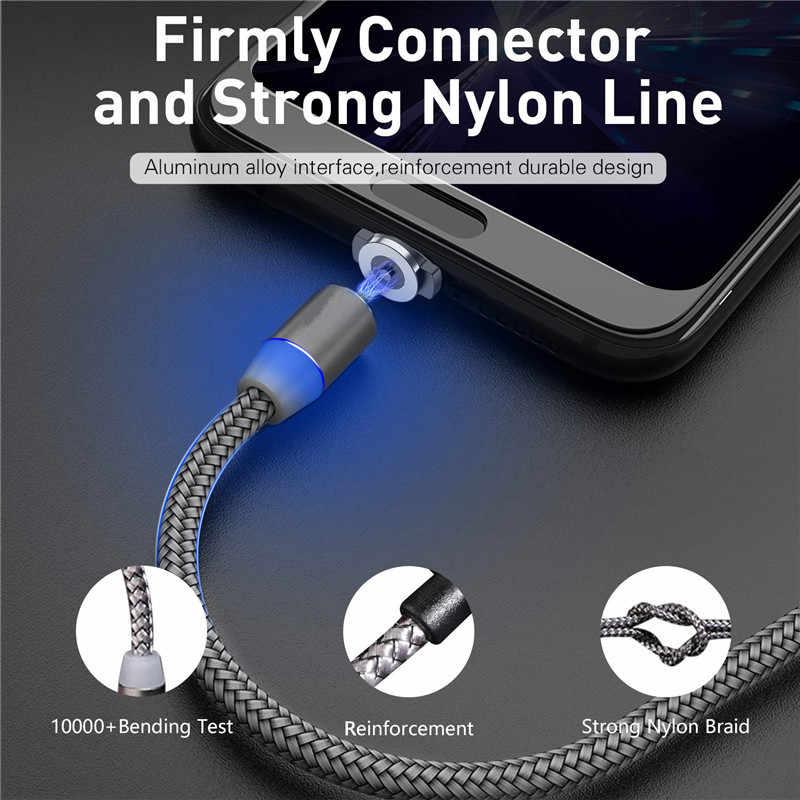 Magnetic Micro USB Kabel Nilon Dikepang Magnet Charger untuk Samsung S6 J3 J5 J7 A10 Huawei P Smart Kehormatan 7A 8A 8X 8C LG G3 G4S Q60