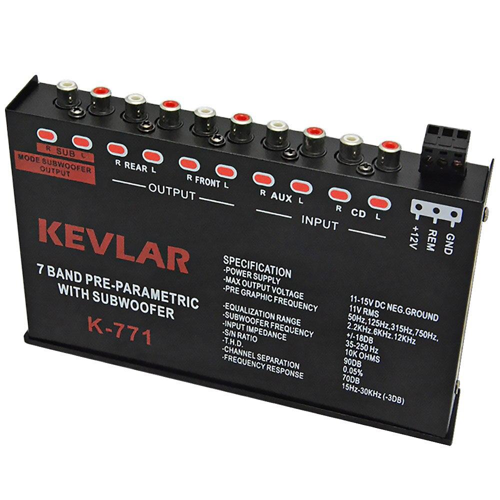 Amplificateur Audio de voiture EQ Tuner diviseur de fréquence amplificateur Audio de voiture égaliseur 7 bandes avec caisson de basses 12V - 2