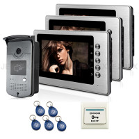 Free Shipping Brand New Wired 7 Inch Color Video Door Phone Intercom Doorbell System 3 Monitor