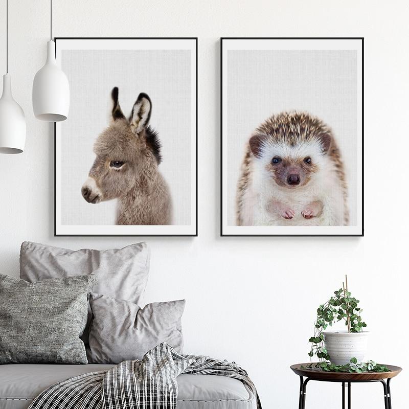 Tierchen Kunst Poster und Drucke Esel Wandkunst Leinwand Malerei ...