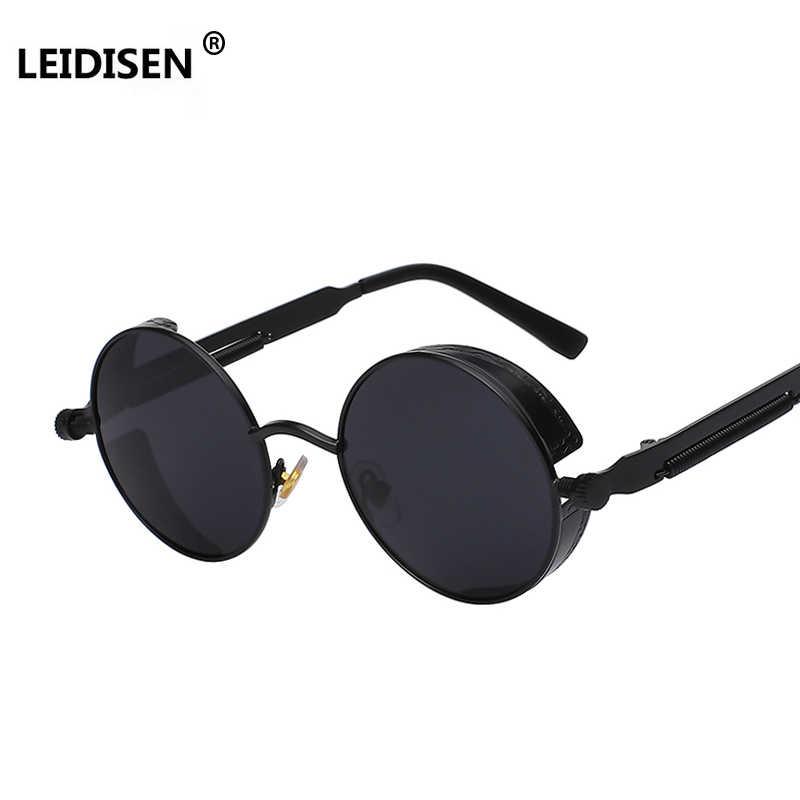d78565b2065 LEIDISEN Gothic Sunglasses POLARIZED Men Women Steampunk Round Metal Frame  Sun Glasses Eyewear Brand Designer High