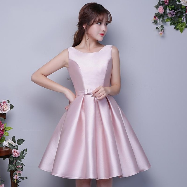 f3146f4c98f Boat Neck Satin Short Bridesmaid Dresses Silver Champagne Sky Blue Pink Maid  of Honor Dresses vestido madrinha