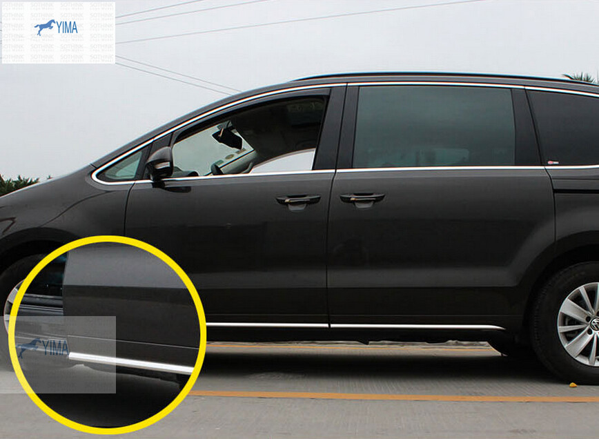 Stainless steel Door Side Body Molding Cover Trim 4 pcs For VW volkswagen sharan 2012-2016 stainless steel side body side door molding cover trim for 2014 mazda 6 atenza
