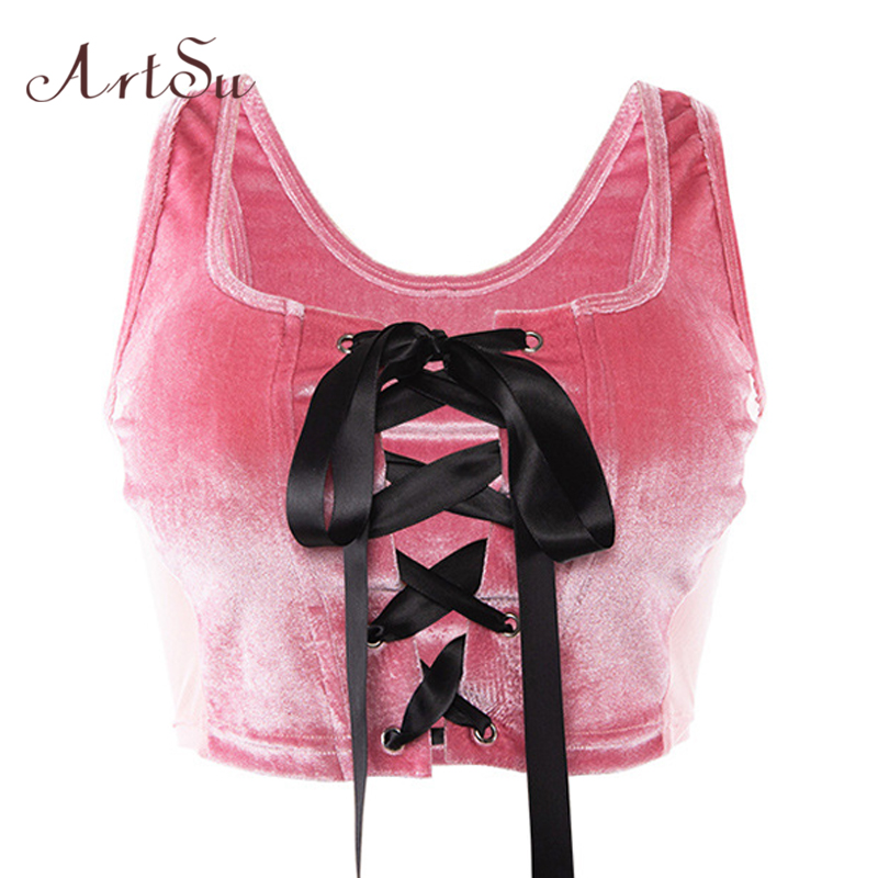ArtSu Pink Crop   Top   Lace Up Sleeveless Sexy Velvet   Top   Bralette Cute   Tank     Top   Patchwork Mesh Cropped Camisole ASVE20397