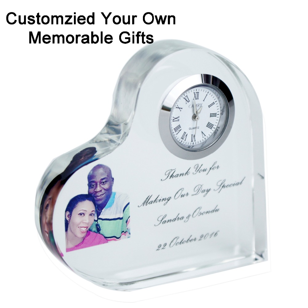Free shipping 1 pc excellent cutting crystal heart clock customized engraving Photo Printing wedding Anniversary Favor