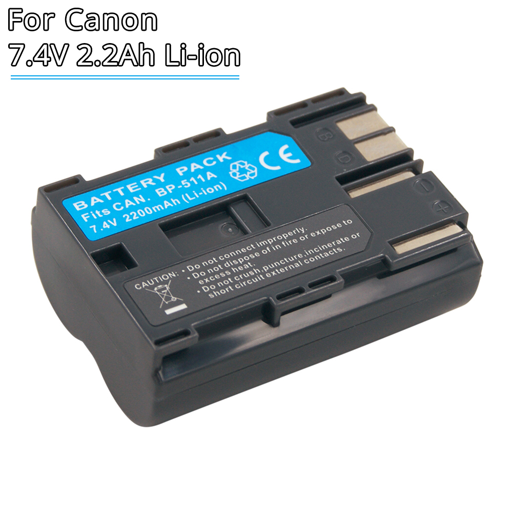 BP511A BP-511 BP-511A BP511 Rechargeable Camera Battery 7.4V Li-ion For Canon EOS 300D 5D 20D 30D 50D 40D 10D PowerShot G1 Pro1