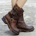 Punk New Style Women Ankle Boots Black Brown Genuine Leather Square Toe Flat Booties Straps Design Botas Militares Martin Boot