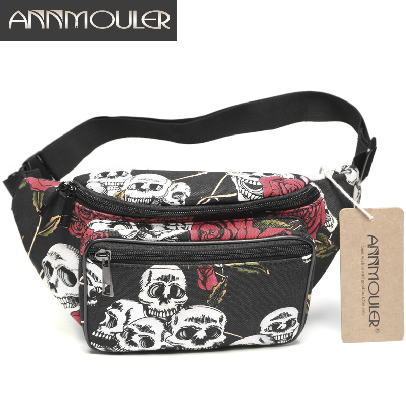 Annmouler Brand New Women Waist Bag Canvas Fanny Pack Large Capacity Waist Belt Bag Skul&Rose Hip Chest Bag For Girls