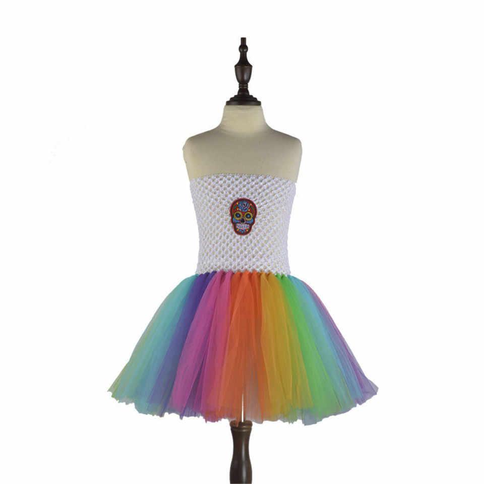 קשת גולגולת בעבודת יד בגדי תינוקות בנות שמלת קיץ שמלת טוטו ילדי שמלת טול שמלות המפלגה Cosplay תלבושות עבור ליל כל הקדושים