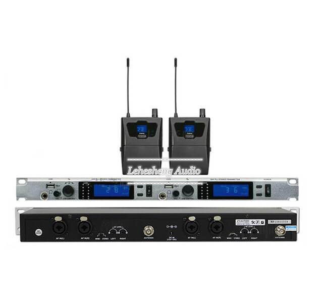 In Ear Monitoring System Stereo Wireless 2 Receivers With USB For Stage Performance / Church / Singing / Broadcast