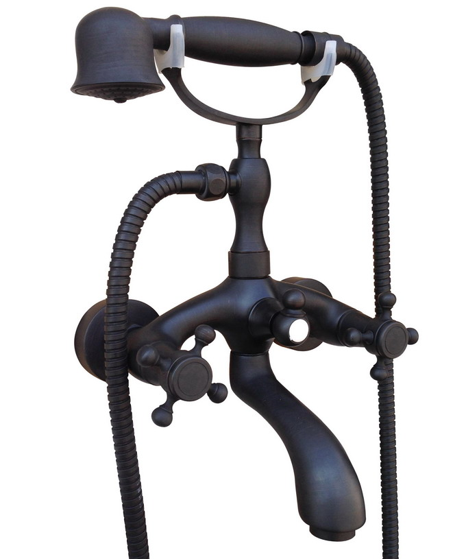 Bathroom Black Oil Rubbed Bronze Wall Mounted Clawfoot Tub Filler Faucet Handshower Two Cross Handles atf561