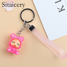 Sitaicery 2PCS/Set Doll Personalized Keychain Pendant Bag Charm Colorful Key Chains For Girls Children Jewelry Female Ring