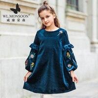 clothing autumn and winter models national wind girls dress female baby lace sleeve dress velvet long sleeved princess dress