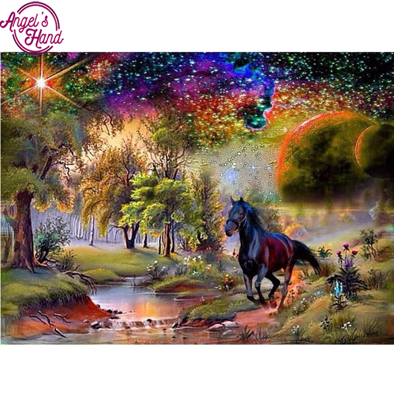 Diamond embroidery horse Landscape Diy diamond square drill rhinestone pasted Crafts Needlework home decoration
