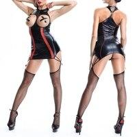 CFYH 2017 חדש סקסי שרשרת מבריקה עור ציפר פו פו פאנק dress תחבושת חזה פתוח בגד גוף לטקס מראה רטוב ארוטית dress