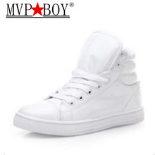 New 2016 Autumn Winter Fashion Men Shoes High Top Casual Red PU Leather Boots Men Trainers Breathable  Basket Hombre недорго, оригинальная цена