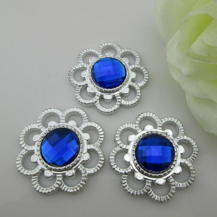 (PB28 35mm)20pcs Elegant Blue Gem Flatback Rhinestone Button Resin Embellishment