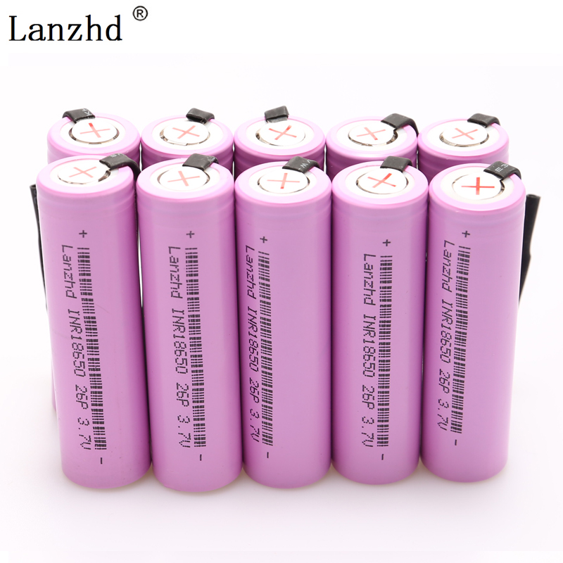 INR18650 Rechargeable Battery 18650 for 18650 batteries Li-ion 20A Discharge 2600mAh 3.7V + DIY Nickel Sheets