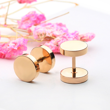 Innopes Fashion Punk Men woman Black Stud Earrings Double Sided Round Earrings Male Gothic Barbell gold Earrings Jewelry Gifts 5