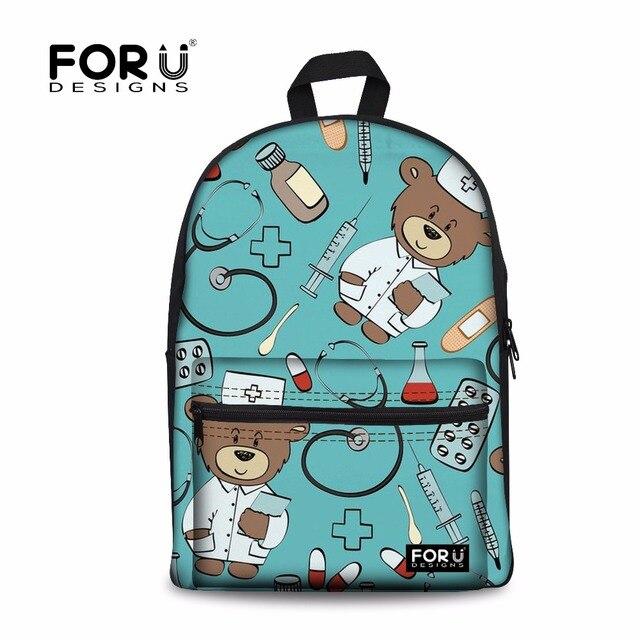 589a1ffc5a FORUDESIGNS Women Backpack Cute Cartoon Nurse Bear Print Rucksack Fashion  Travel Bag Teenager Girls Laptop Daypack Mochila Bolsa