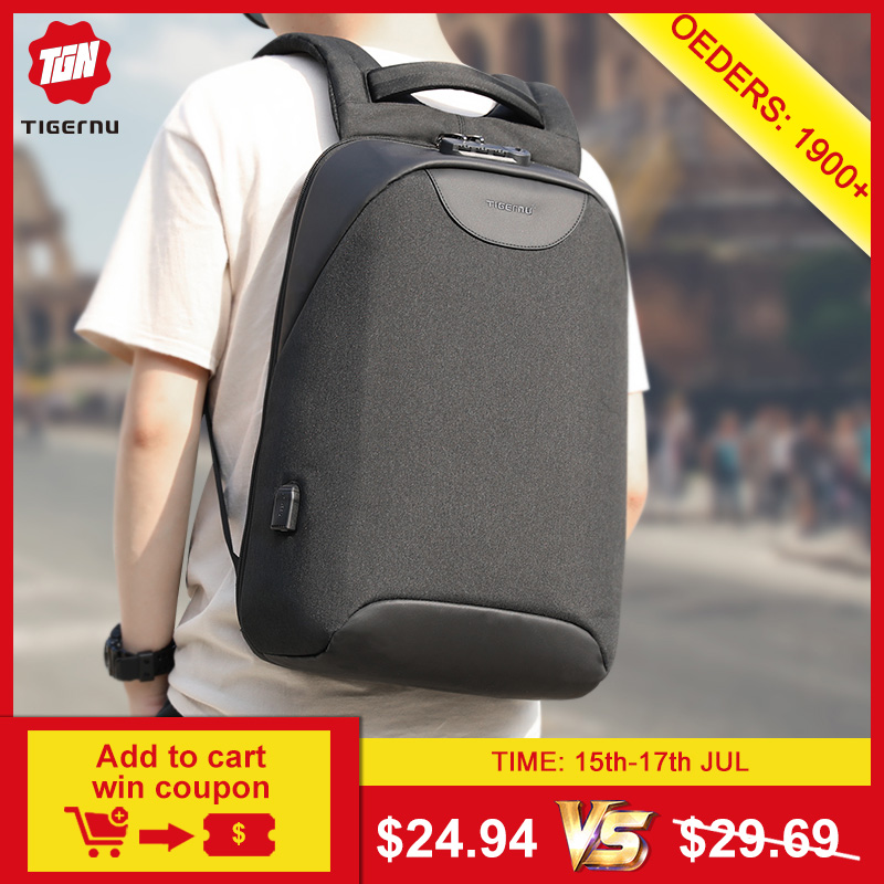 No Key Anti theft TSA Lock Fashion Men Backpacks 15.6inch USB Charging Laptop Male Mochila 18L College School Backpack for Boys(China)