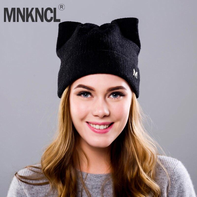 91f4a9e4de2 Cat Ears Skullies Beanies For Women Hat Cap Winter Warm Elasticity Knit  Beanie Hat Caps cashmere Balaclava Girls Winter Hat