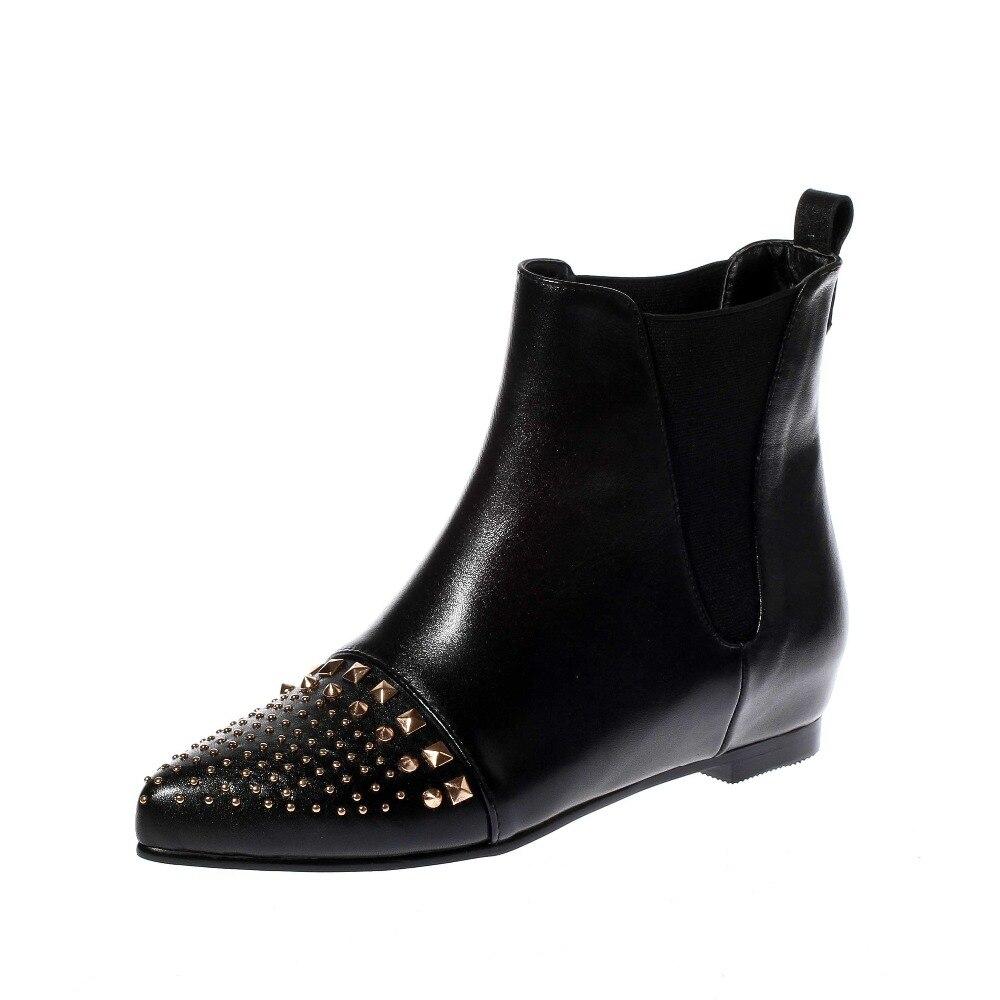 Здесь можно купить  New Fashion Women Ankle Boots Stylish Rivets Pointed Toe Beautiful Black Shoes Woman US Size 4-10.5 New Fashion Women Ankle Boots Stylish Rivets Pointed Toe Beautiful Black Shoes Woman US Size 4-10.5 Обувь