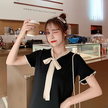 Summer Dress Women Girl Bow Tie Side Knit  Wild Short Sleeve Solid Color Loose Mid-Length Casual Summer Dress batwing sleeve self tie knit dress