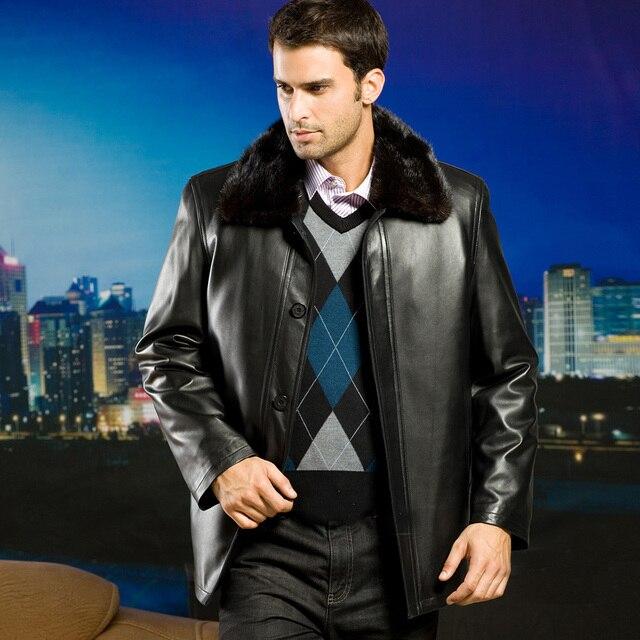 Russian Men's Mink Fur Ling Genuine Sheep Leather Jacket Coat