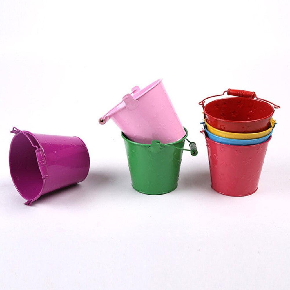 Children Beach Toy Bucket Gardening Galvanized Toy Bucket Toilet Iron Barrel Seaside Children Outdoor Toys 12.5*11*9