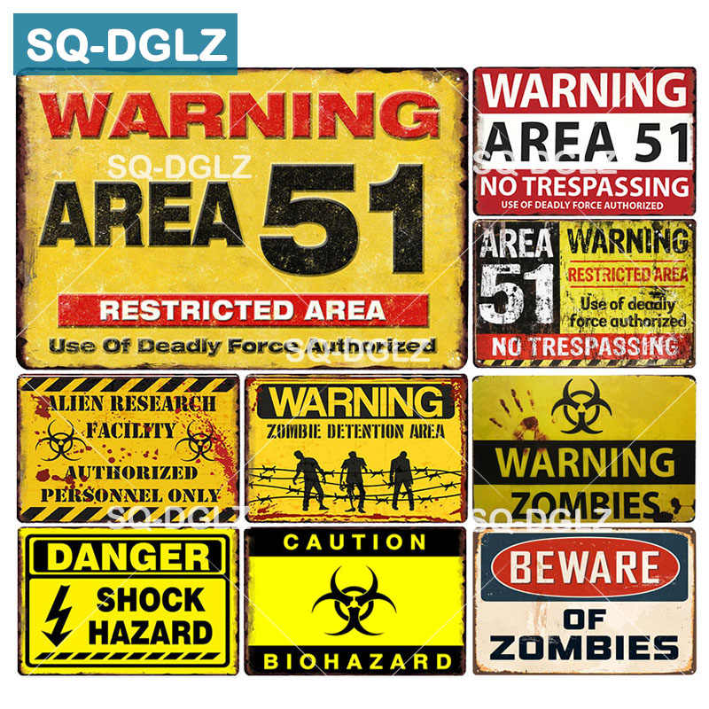 [SQ-DGLZ] Warning Area 51 Metal Tin Sign WARNING OF ZOMBIES Plaque Paint Wall Decor DANGER Painting Plaques