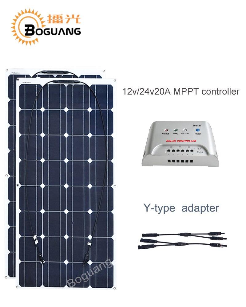 Boguang 100w solar panel 200w solar DIY kit System cell module 12v 24v 20A MPPT controller