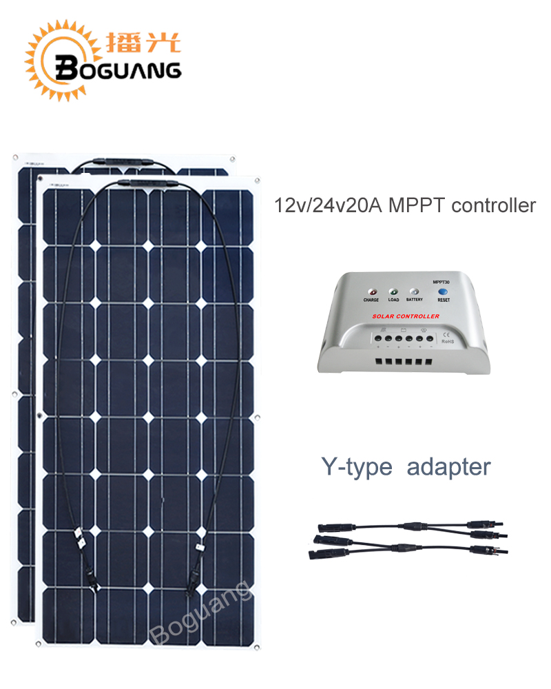 Boguang 100w solar panel 200w solar DIY kit System solar-panel 12v/24v/20A MPPT controller T-type MC4 connector cable charger boguang 500w semi flexible solar panel solar system efficient cell diy kit module 50a mppt controller adapter mc4 connector