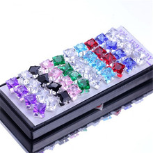 Wholesale 40pcs 925 Silver Earrings Nice Mixed Colored CZ Stud E169 Free shipping