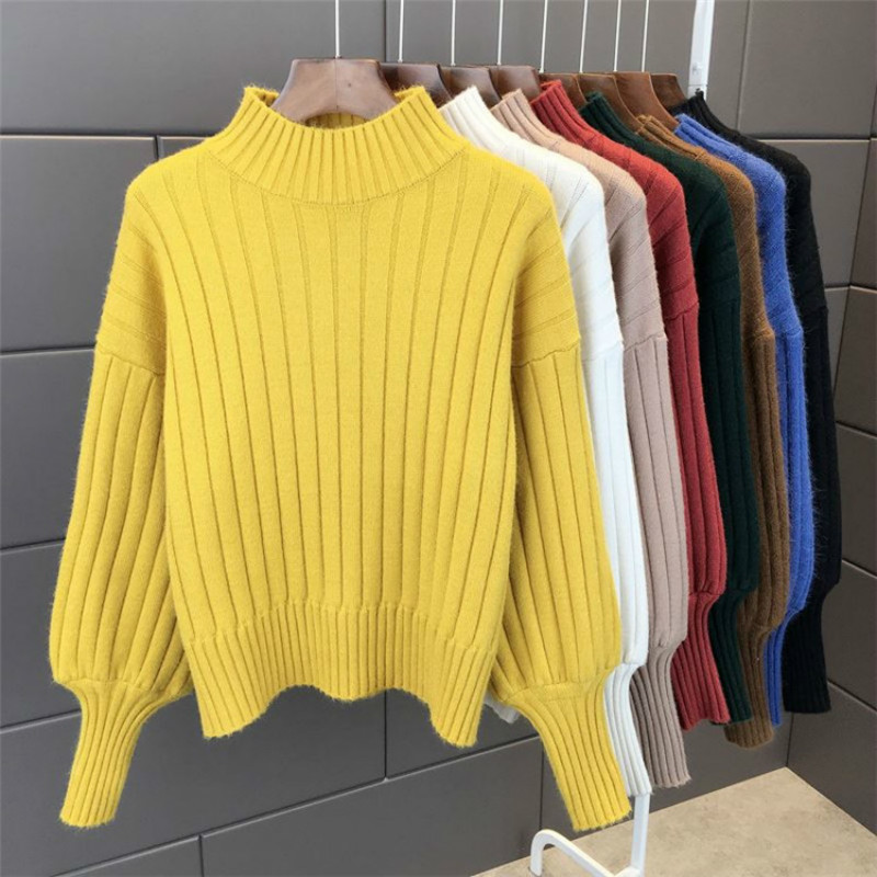 PEONFLY Thick Warm Turtleneck Sweater Women Jumper  Long Sleeve Knitted Yellow Sweater And Pullover Female Pull Femme  Autumn
