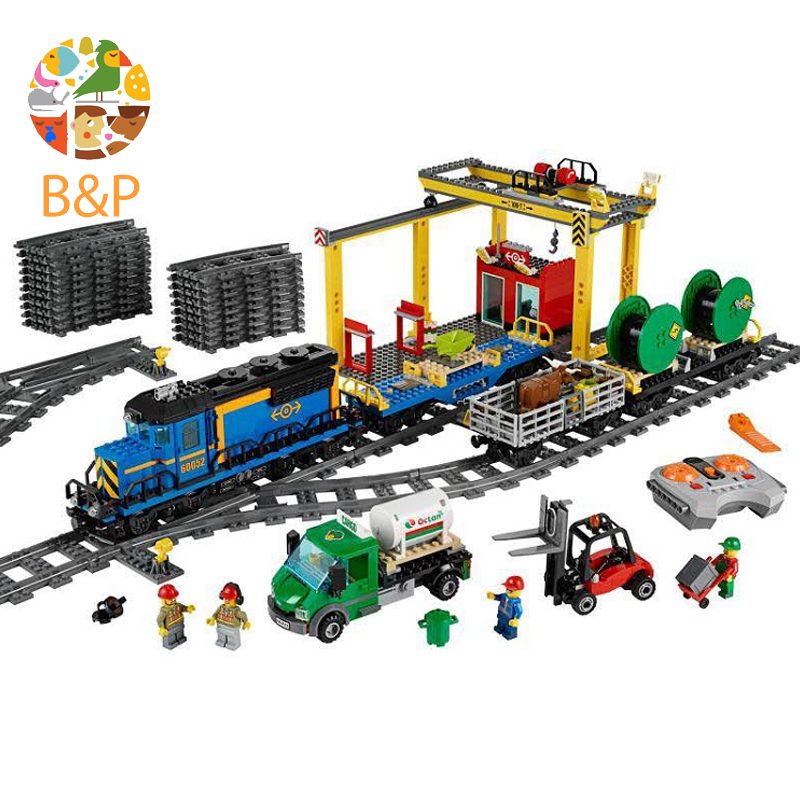 DHL 02008 959Pcs CITY series The Cargo Train Model Building Blocks Brick lepin Compatible Toys for children Gift Leoging 60052 lepin 02008 the cargo train 959pcs city series legoingly 60052 plate sets building nano blocks bricks toys for boy gift