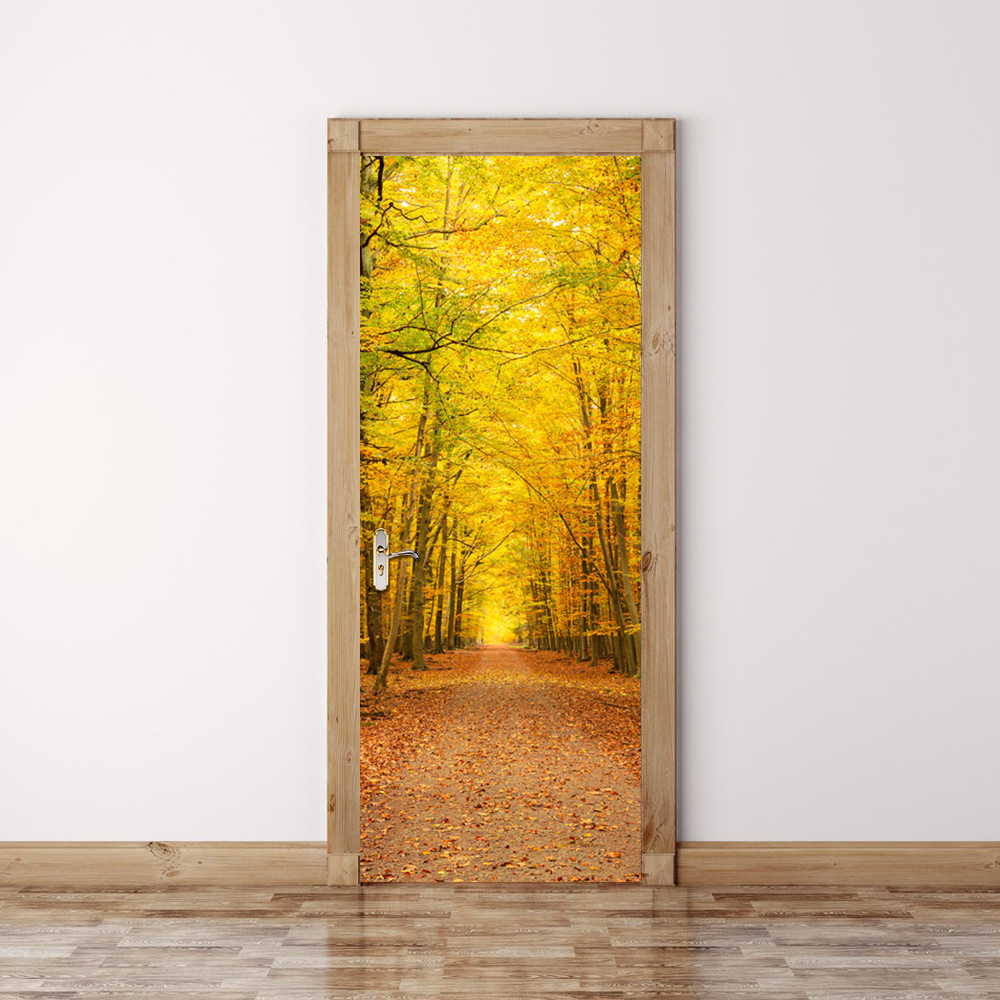 2 Panels Autumn Woods Way 3D Wall Art Picture Mural Wall Stickers ...