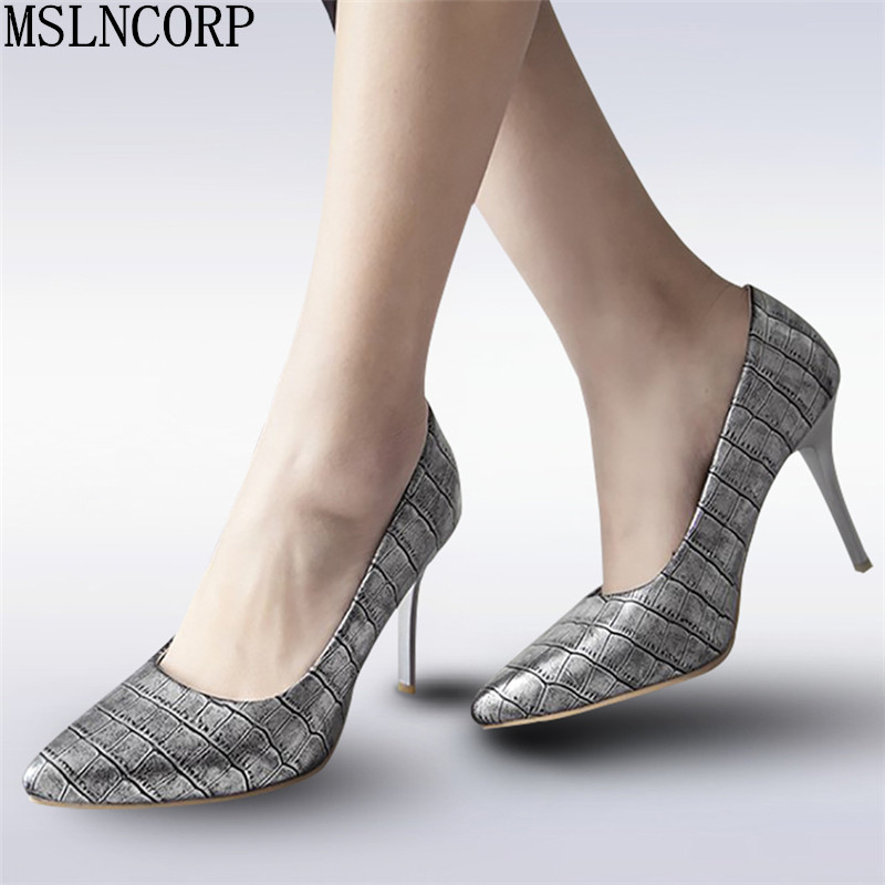 plus size 34-48 New Fashion high heels women pumps thin heel classic Pointed Toe sexy Snake Pattern prom wedding Office shoes big size 40 41 42 women pumps 11 cm thin heels fashion beautiful pointy toe spell color sexy shoes discount sale free shipping